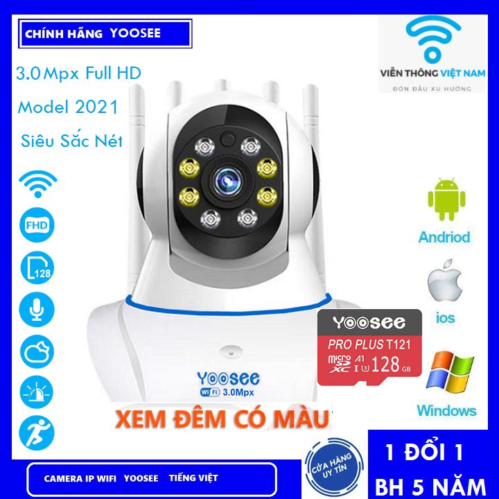 [Có Màu Ban Đêm KÈM THẺ NHỚ 128 YOOSEE 8 LED 3.0Mpx BẢO HÀNH 5 NĂM ] Camera Wifi - Camera Yoosee Wifi 3 Râu 8 LED 3.0Mpx Full HD 1080P Xem Đêm Có Màu Model 2021