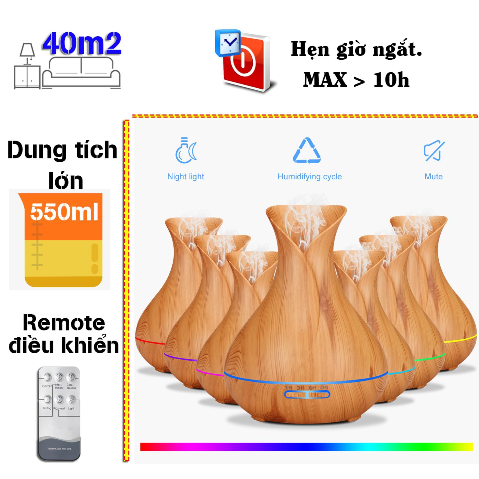 Máy khuếch tán tinh dầu bình hoa dung tích 400ml  lộc không khí, tạo ẩm tặng 10ml tinh dầu sả chanh Ngọc Tuyết