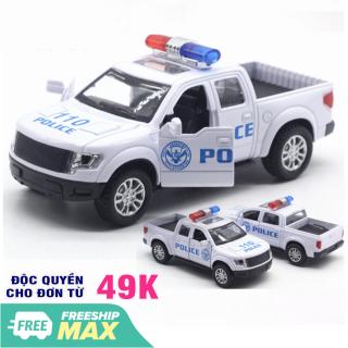 Ô tô cảnh sát mô hình xe bán tải mini có âm thanh xe bằng sắt đồ chơi trẻ em chạy cót thumbnail
