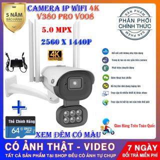 (KÈM THẺ NHỚ 64 GB TRỊ GIÁ 350K)Camera ip wifi V380 pro V008 chuẩn 5.0 Mpx , CAMERA XEM ĐÊM CÓ MÀU , CHỐNG NƯỚC CHỐNG NGƯỢC SÁNG , CAMERA dùng ngoài trời - trong nhà thumbnail