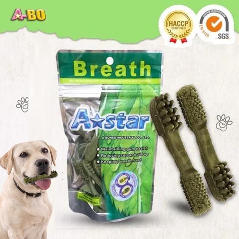 Xương gặm cho chó A-star 90g Hình bàn chải xanh diệp lục, Xương gặm sạch răng cho chó cao cấp, giúp thơm miệng, ngừa viêm nướu