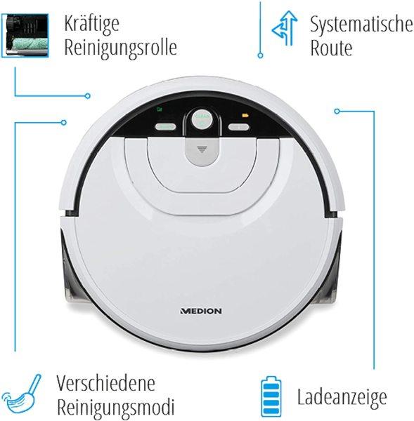 Robot lau nhà Medion MD18379 thế hệ mới TỰ GIẶT GIẺ LAU; Công nghệ Gyro thông minh chạy theo đường zíc zắc không lặp lại; 4 chế độ lau; Hàng nhập Đức