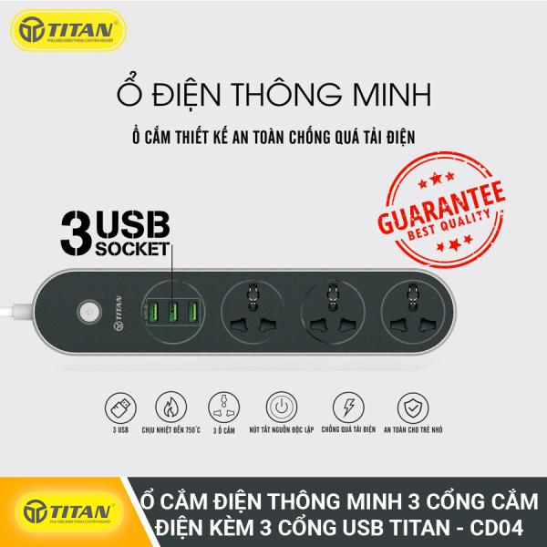 Ổ Cắm Điện Thông Minh 3 Cổng Cắm Điện Kèm 3 Cổng USB TITAN - CD04