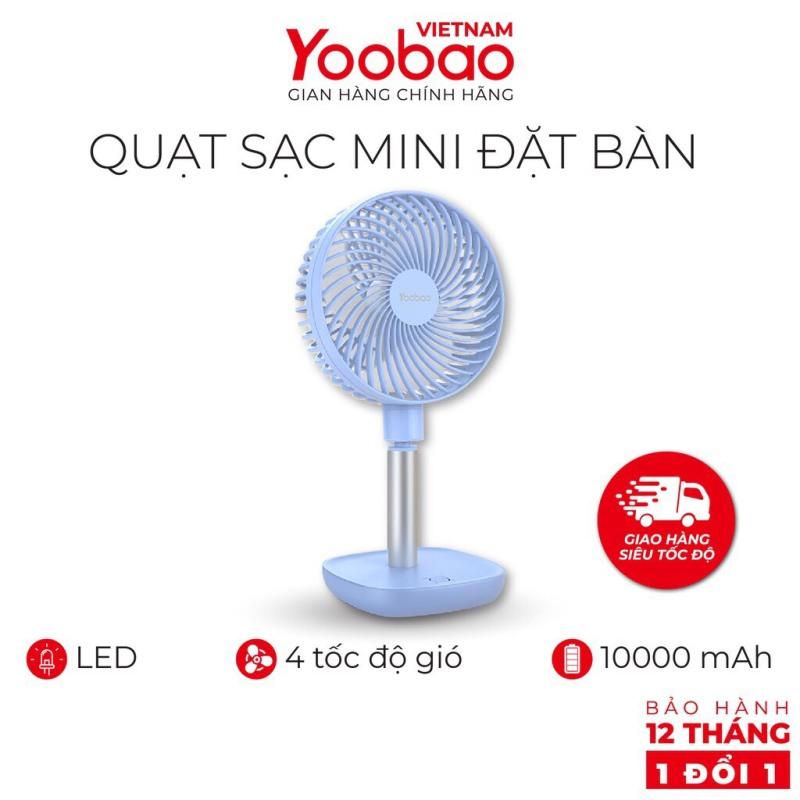Quạt mini tích điện Yoobao Y- F1 pin siêu bền dùng thoải mái 3 ngày liền với 4 cấp ( Pin siêu khủng 10000mAh cho thời gian dùng từ 38-60 giờ )