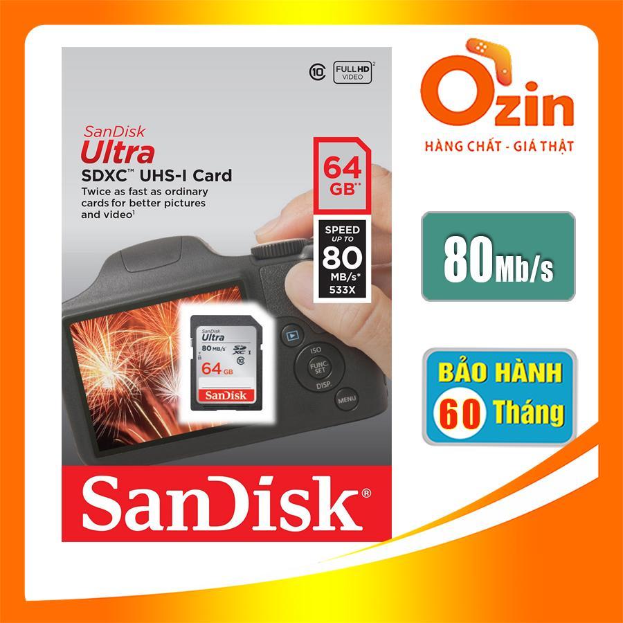 Giá Thẻ Nhớ Sd sandisk_ Ultra 64Gb 80Mb/S Sdhc 533X Class 10