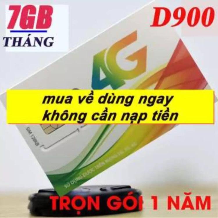 Giá SIM 4G VIETTEL D900 GIẢM 50% TẶNG 7GB/tháng TRỌN GÓI 1 NĂM KHÔNG NẠP TIỀN