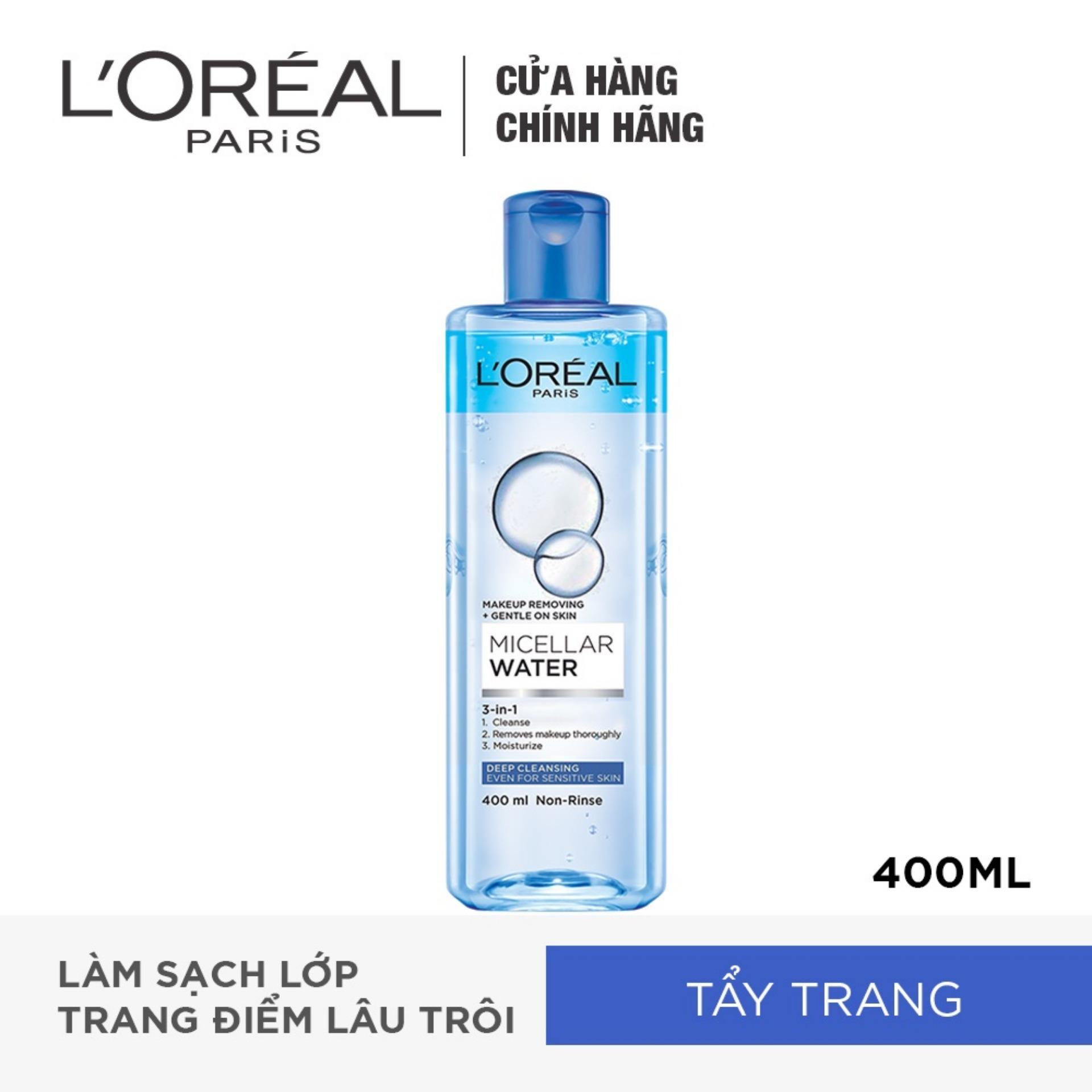 Nước tẩy trang đa năng 3-in-1 LOreal Paris Micellar làm sạch sâu 400ml (xanh dương đậm)