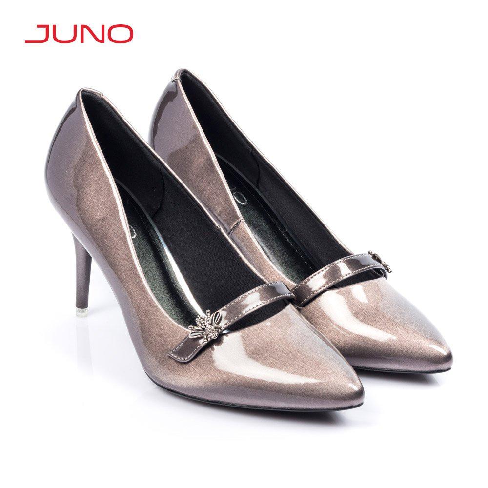 Giày cao gót 9cm mũi nhọn phối quai ngang Juno CG09090