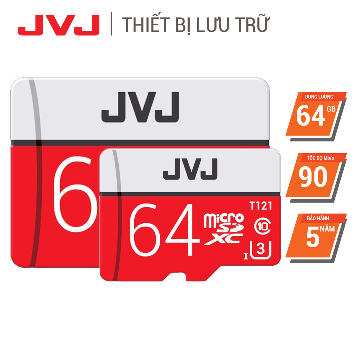 Combo 2 thẻ nhớ 64G class10 JVJ Pro Micro SDHC, tốc độ cao 96MB/s chuyên dụng cho camera wifi, camera hành trình, điện thoại, máy chơi game, chất lượng hình ảnh 4k tặng kèm gói bảo hành 5 năm đổi mới trong vòng 7 ngày, thẻ 64Gb