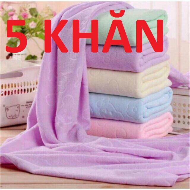[HCM]Combo 5 cái khăn tắm xuất Nhật dư mền mịn thấm nước tốt (kích thước 140 cm*70 cm) giao nhiều màu khác nhau
