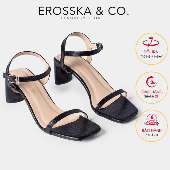 Giày sandal cao gót Erosska thời trang mũi vuông phối dây quai mảnh cao 5cm EB025 (BA) giá rẻ