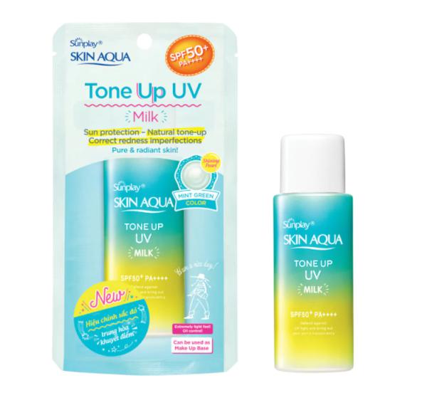 MUA 2 TẶNG 1 MASK Tinh chất chống nắng Skin Aqua Sunplay Tone Up dưỡng ẩm nâng tông che khuyết điểm  UV Essence (Mint Green) 50g