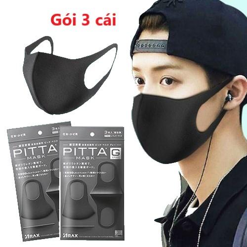 Gói 3 cái khẩu trang Pitta Mask Nhật Bản lọc bụi, thông thoáng, giặt và tái sử dụng, kháng bụi tới 99%