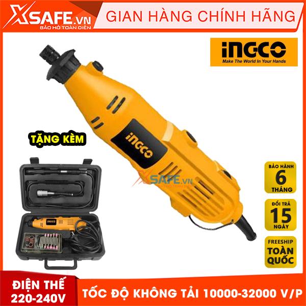 Máy Mài khuôn mini INGCO MG1309 tặng kèm 52 phụ kiện và 1 dây nối dẻo có tính đàn hồi tốt. Máy Mài khuôn mini cầm tay có tốc độ không tải 10000-32000 v/min, công suất 130W bảo hành chính hãng 6 tháng - Sản phẩm chính hãng XSAFE