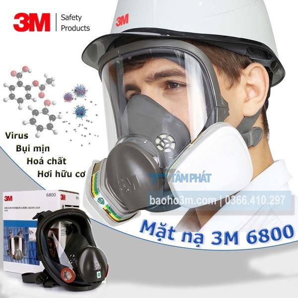 Mặt nạ phòng độc 3M 6800 lắp phin lọc 3M 6001 + bông lọc 3M 5N11 + nắp 3M 501 - có kính chắn bụi và khói