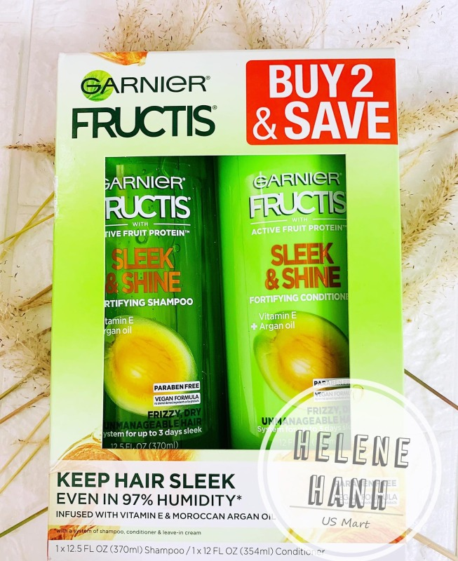 [USA] SET Dầu gội xả GARNIER FRUCTIS SLEEK & SHINE 370ML