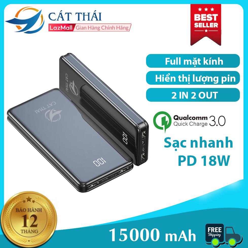 Pin sạc dự phòng Cát Thái Y43B dung lượng 15000mAh mặt kính có hiểrn thị lượng pin 2 Cổng USB 2 cổng Input Type-C và Micro nhỏ gọn siêu mỏng thích hợp cho các bạn xài Android