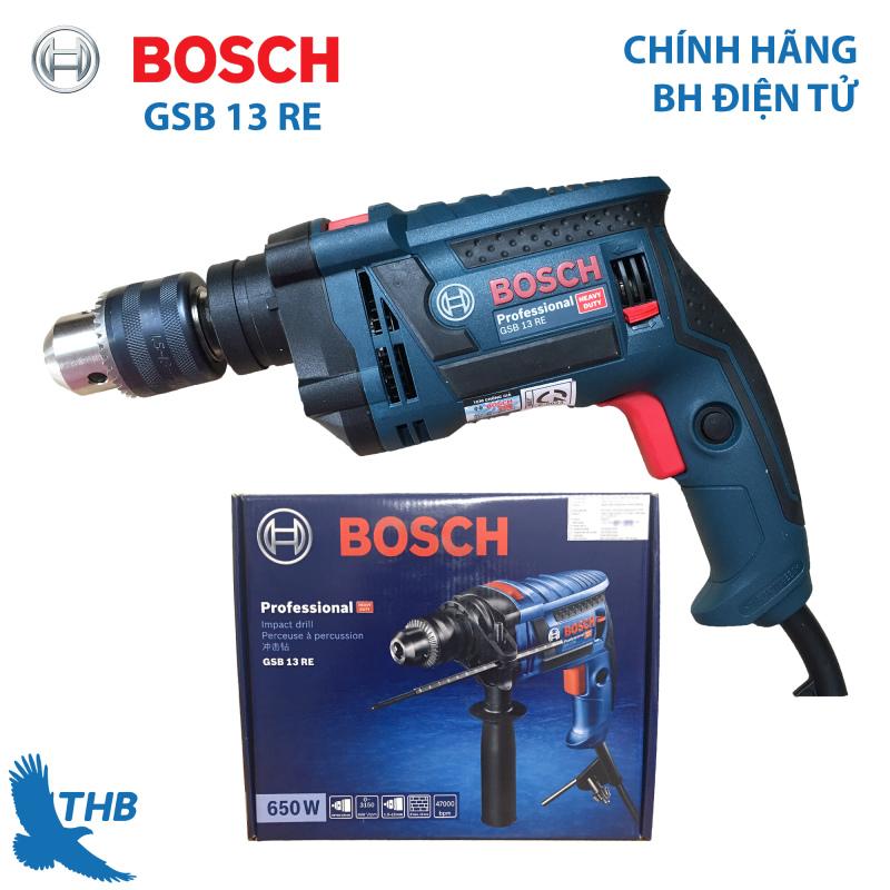 Máy khoan động lực cầm tay Bosch GSB 13 RE SOLO hộp giấy Công suất 650W bảo hành chính hãng 6 tháng
