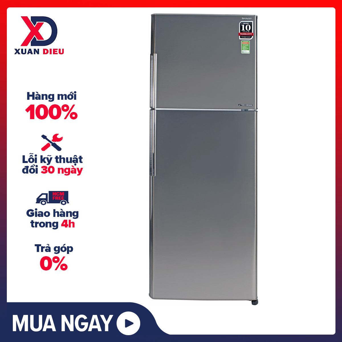 [Trả góp 0%]Tủ lạnh Sharp Inverter 315 lít SJ-X346E-SL - Công nghệ J-Tech Inverter vận hành êm ái tiết kiệm điện Chế độ Extra Eco tăng khả năng tiết kiệm điện tối đa Công nghệ khử mùi Nano Ag+Cu lọc sạch vi khuẩn gây hại