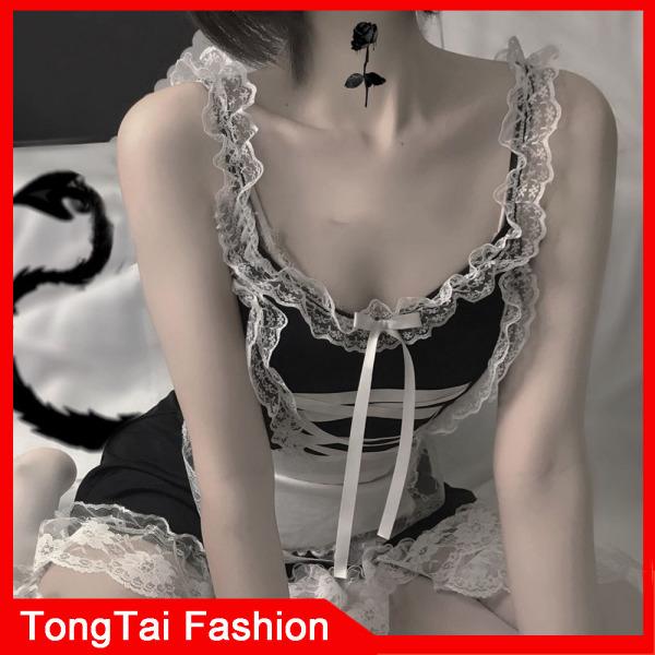 Phụ nữ Đồ lót Sexy Phối cảnh Đồ ngủ Váy Bra Đồ lót quyến rũ Ren polka Dot Dress Pyjama Bộ trang phục Cosplay TongTai
