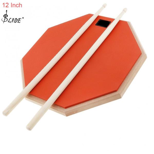 SLADE Orange 12 Inch Cao Su Bằng Gỗ Câm Trống Thực Hành Trống Pad Với Gậy Trống