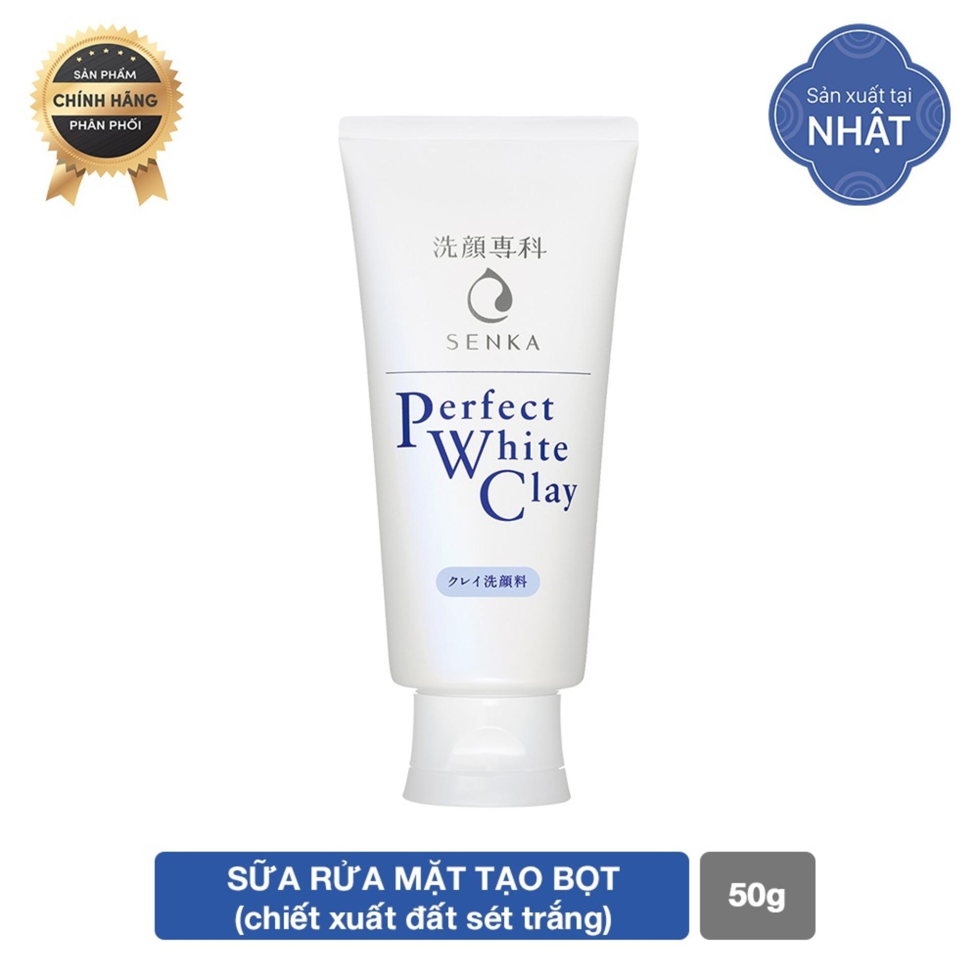 GIFT_Sữa rửa mặt đất sét trắng Senka Perfect White Clay 50g tốt nhất