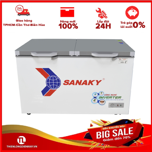 [Nhập ELMAY21 giảm 10% tối đa 200k đơn từ 99k]Tủ đông Sanaky VH-3699W2K - 2 NGĂN 2 CỬA 1 ĐÔNG 1 MÁT270 LÍT