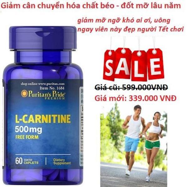 Viên uống hỗ trợ giảm cân không tác dụng phụ, giúp cơ thể săn gọn, hỗ trợ chức năng thận Puritans Pride L-Carnitine 500mg 60 viên HSD 03/2021