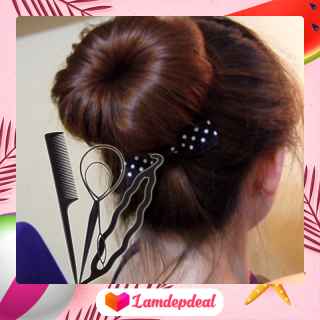 Lamdepdeal - Lamdepdeal - Combo 3 dụng cụ tạo kiểu tóc tiện dụng - Dụng cụ làm tóc, tết tóc, thắt bím tóc, phụ kiện tóc không thể thiếu của bạn gái - Giá rẻ - Dễ sử dụng - Dụng cụ làm tóc. thumbnail