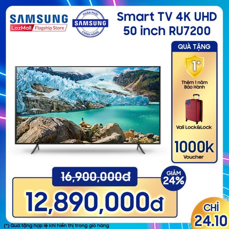 Bảng giá Smart TV Samsung 4K UHD 50 inch - Model UA50RU7200KXXV (2019) - Điều khiển Tivi bằng điện thoại + Công nghệ hình ảnh gồm HDR, UHD Dimming, Purcolour - Hàng phân phối chính hãng