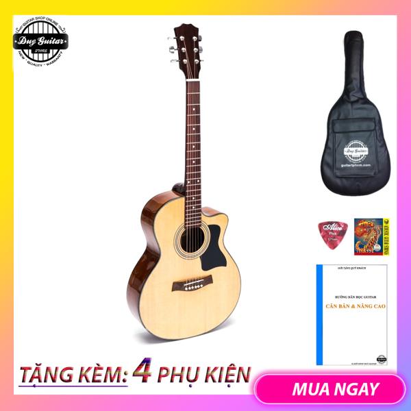 Đàn guitar acoustic dáng khuyết có ty DJ120 Gỗ Hồng đào thịt Dáng A cho âm thanh vang tốt dành cho bạn chơi lâu dài - Duy Guitar Store chuyên đàn guitar giá tốt