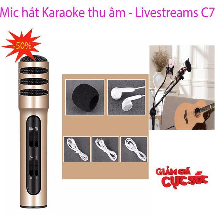 Mã Giảm Giá tại Lazada cho Micro Thu âm Live Stream C7 Loại Cao Cấp Kèm Tai Phone ,hát Karaoke Trên điện Thoại 3 In1