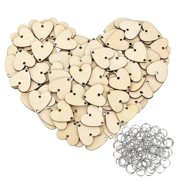 100 Pieces Heart Shaped Wooden Discs Wood Tags with 2 Holes and 100 Pieces Rings for Birthday Board Calendar DIY Crafts