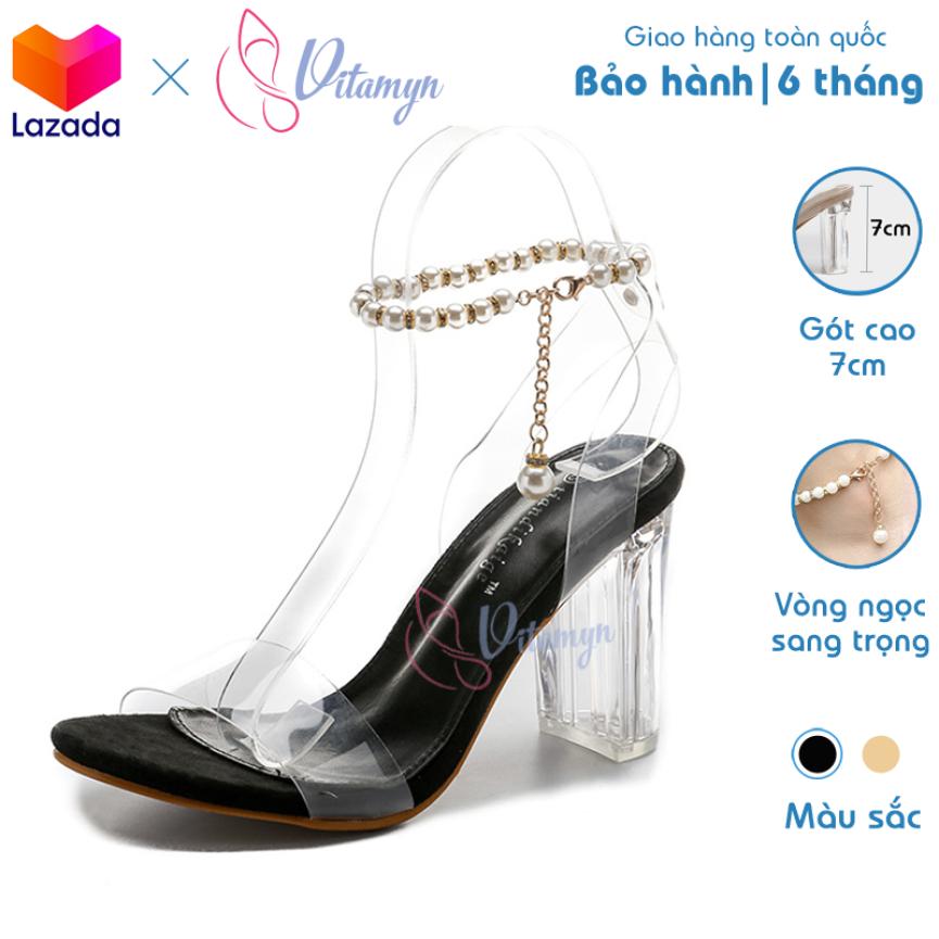 Giày Sandal Cao Gót 7cm Quai Ngang Gót Trụ Trong Suốt, dây cài vòng ngọc thời trang, da simili chông nước giá rẻ