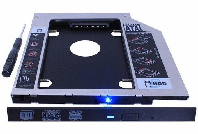Giá Caddy Bay Nhôm Chuẩn SATA3 12.7mm và 9.5mm Dùng Để Cắm Thêm Ổ Cứng SSD HDD Thứ 2 Cho Laptop ( Mới Bảo Hành 12 Tháng 1 Đổi 1)