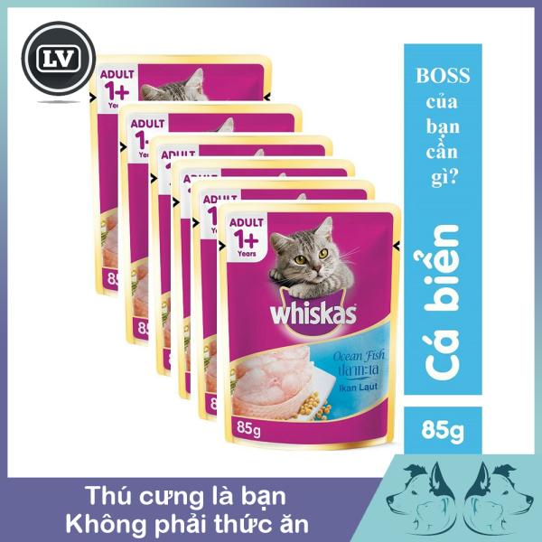 Thức Ăn Pate Whiskas Vị Cá Biển Hải Sản Cho Mèo Lớn 85g - Phụ Kiện Long Vũ