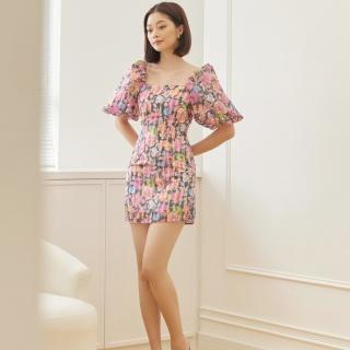 EDINI - Váy Đầm Kiểu Tay Phồng Dáng Ôm 2 Màu D1409 - D1410 thumbnail