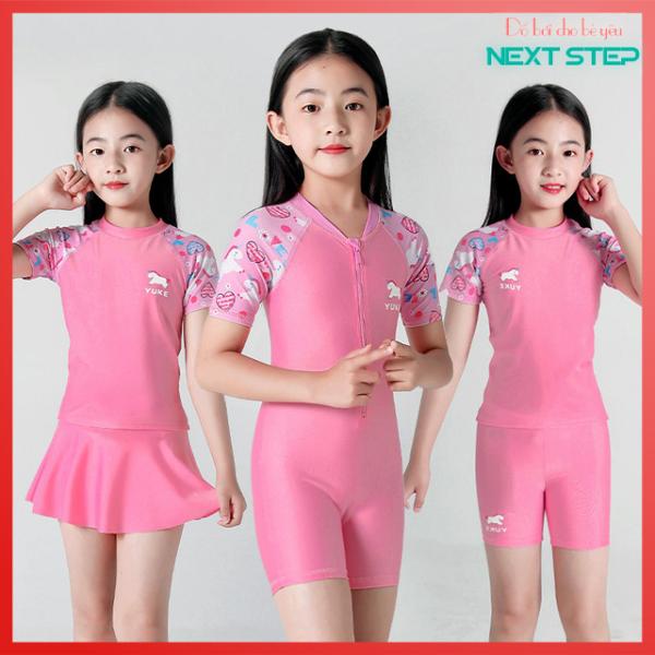 Giá bán Đồ bơi cho bé gái kiểu Hàn Quốc Hồng phấn size từ 14kg đến 43kg
