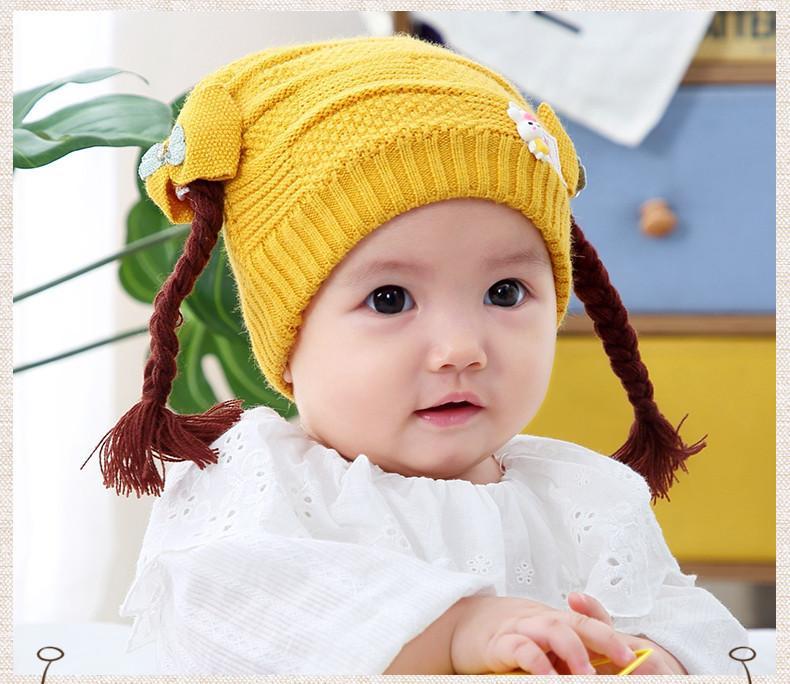 Giá bán Mũ len tóc tết đính con thỏ cho bé siêu yêu(0-2 tuổi)