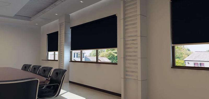 (Video Hướng Dẫn Lắp) Rèm Cuốn Chắn Nắng Cao Cấp Curtain Rolling - Rèm Cuốn Dùng Cho Văn Phòng Màu Nâu sậm