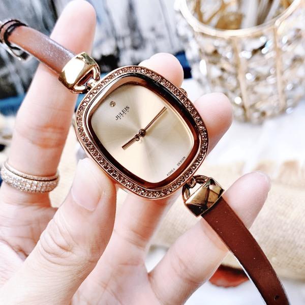 Nơi bán Đồng hồ nữ Julius Hàn Quốc JA-298E dây da mặt chữ nhật (Nâu)