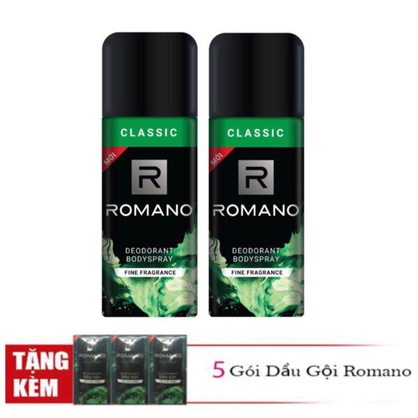 Combo 2 chai Xịt khử mùi toàn thân cho Nam Romano Classic +Tặng 5 gói dầu gội giá rẻ