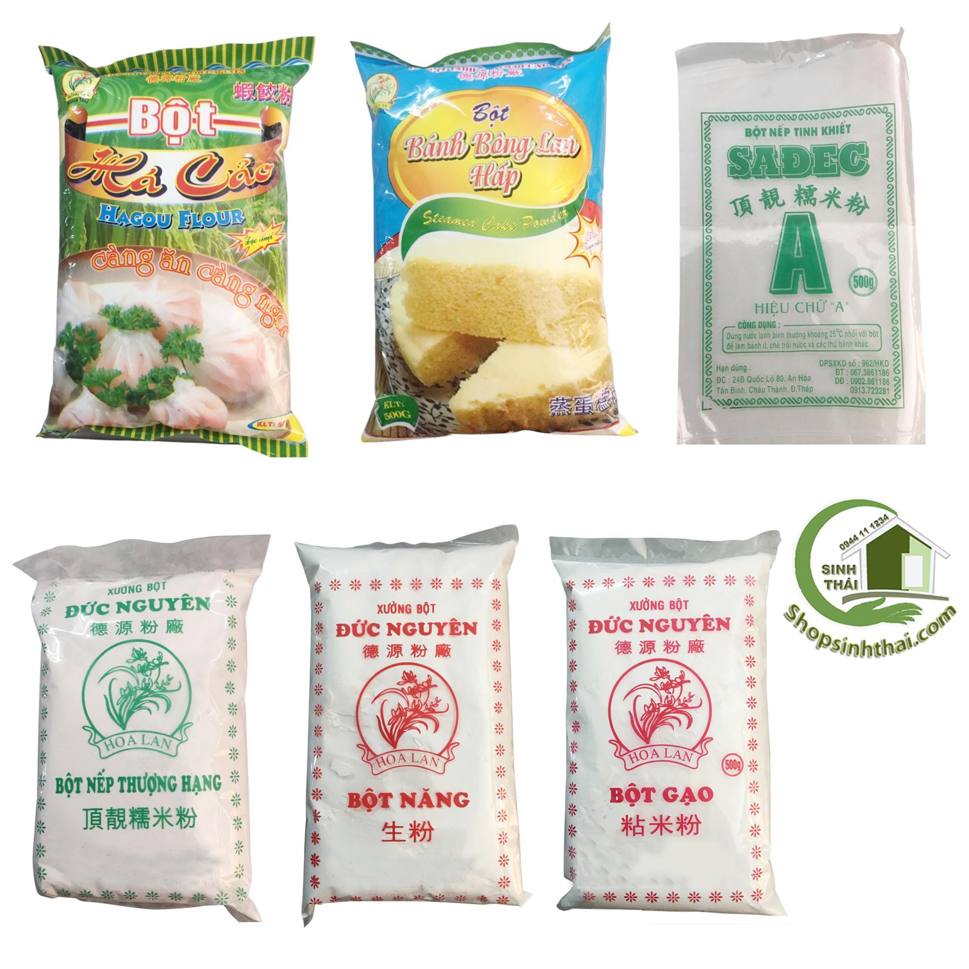 Bột gạo, bột nếp, bột năng, bột bánh cuốn, bột bánh xèo, bột bánh bông lan hấp, bột há cảo - Bịch 500g - chọn loại
