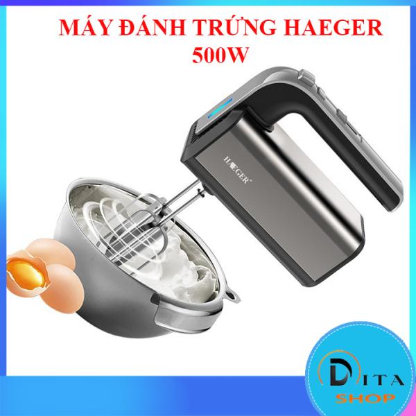 Máy đánh trứng trộn bột làm kem cầm tay Haeger 500W 5 tốc độ, vỏ inox sáng bóng, dễ dàng vệ sinh - Máy đánh trứng cầm tay 500W bảo hành 12 tháng