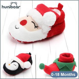 【Hunibear】Baby Chàng Trai Cô Gái Giày Mùa Đông Mềm Duy Nhất Nhung Món Quà Giáng Sinh Toddler Giày 0-18 Tháng