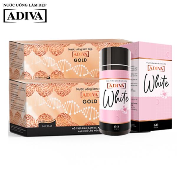 Combo 2 hộp nước uống làm đẹp Collagen ADIVA Gold  + 1 hộp White ADIVA