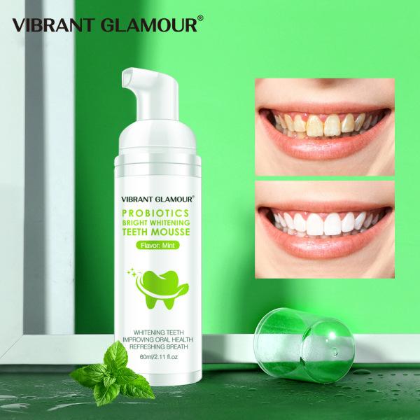 Mousse Tinh Chất Tẩy Trắng Răng Sịt Thơm Miệng Khử Mùi Hôi Miệng Bọt Làm Sạch Răng Kem Đánh Răng Vibrant Glamour Whitening Teeth Oral Treatment