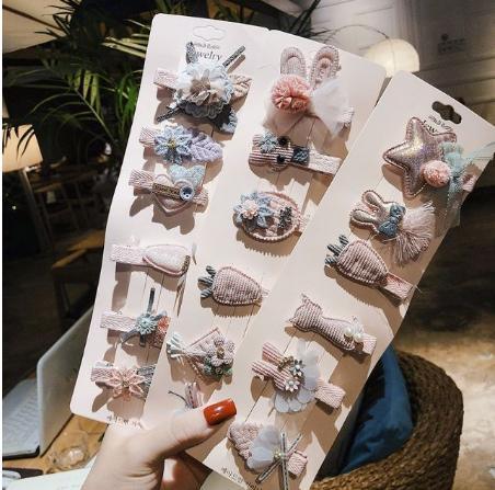 Giá bán Set 6 Kẹp Mái Bọc Vải Đáng Yêu Cho Bé Style Hàn Quốc
