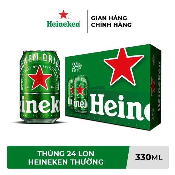 [TRỢ SHIP 38K + VOUCHER 10K] Thùng 24 lon bia Heineken 330ml/lon
