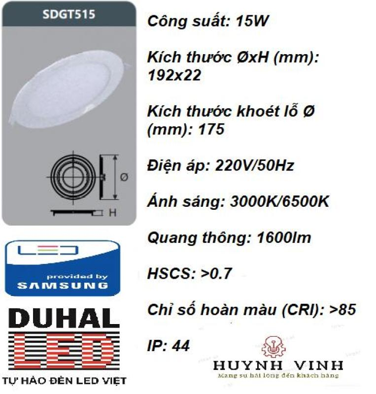 ĐÈN LED SAMSUNG PANEL ÂM TRẦN 15W DUHAL - SDGT515
